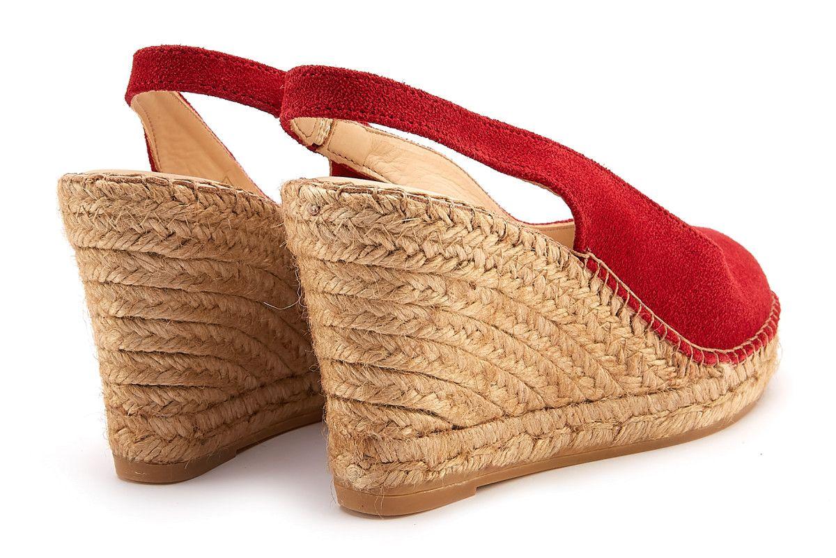 Sandały damskie peep toe na koturnie APIA Carina Rojo